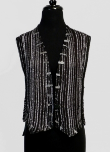 Handwoven rayon boucle vest, trimmed in ribbons and toulle