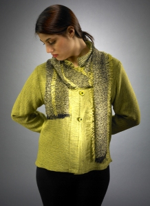 Short Mandarin Jacket with Mesh Scarf