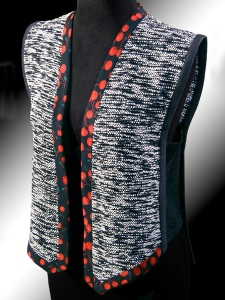 Leaf Vest with ultrasuede and cherry silk trim