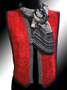 Vest trimmed with bamboo, cotton and ultrasuede. Lisa Scarf.