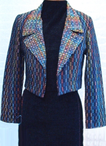 Handwoven bolero jacket, hand dyed ribbons, cotton and silk.  Fully lined