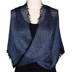 Handwoven Mobius in Periwinkle/Black tweed, Front