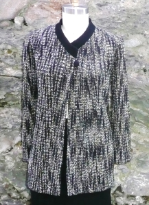 Handwoven crossover jacket.  Mixed fibers, fully lined