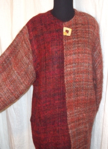 Handwoven wool and mohair two toned jacket