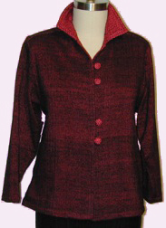 Handwoven yoke jacket in rayon chenille and bamboo