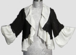 Ruffle jacket in rayon boucle