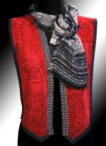 Handwoven rayon chenille trimmed in synthetic suede and coordinated with rayon boucle pieces Lisa scarf